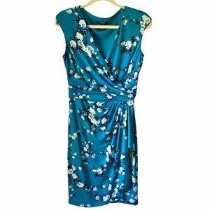 Chaps Asymetrical Wrap  Dress Floral V-Neck Blue S